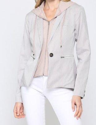 Seek The Label Pinstripe Hooded Blazer