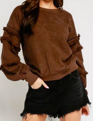 sweaters Fringe Sleeves Sweater