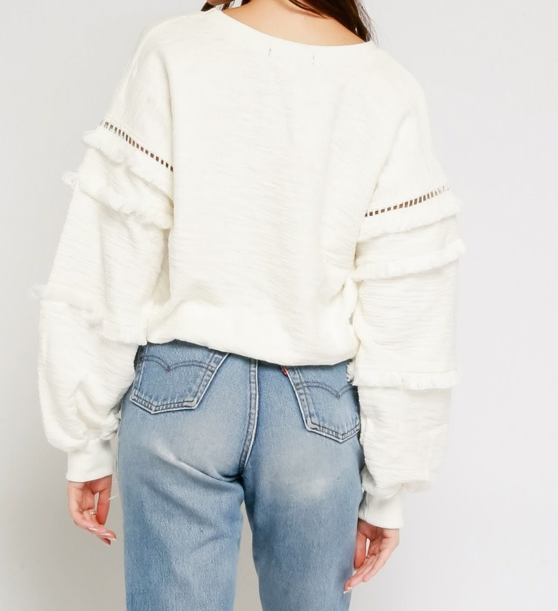 sweaters Fringe Sleeves Sweater