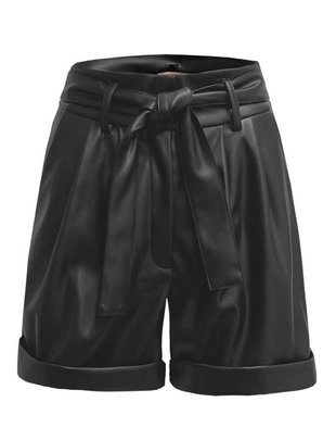 Seek The Label Faux Leather HW Shorts