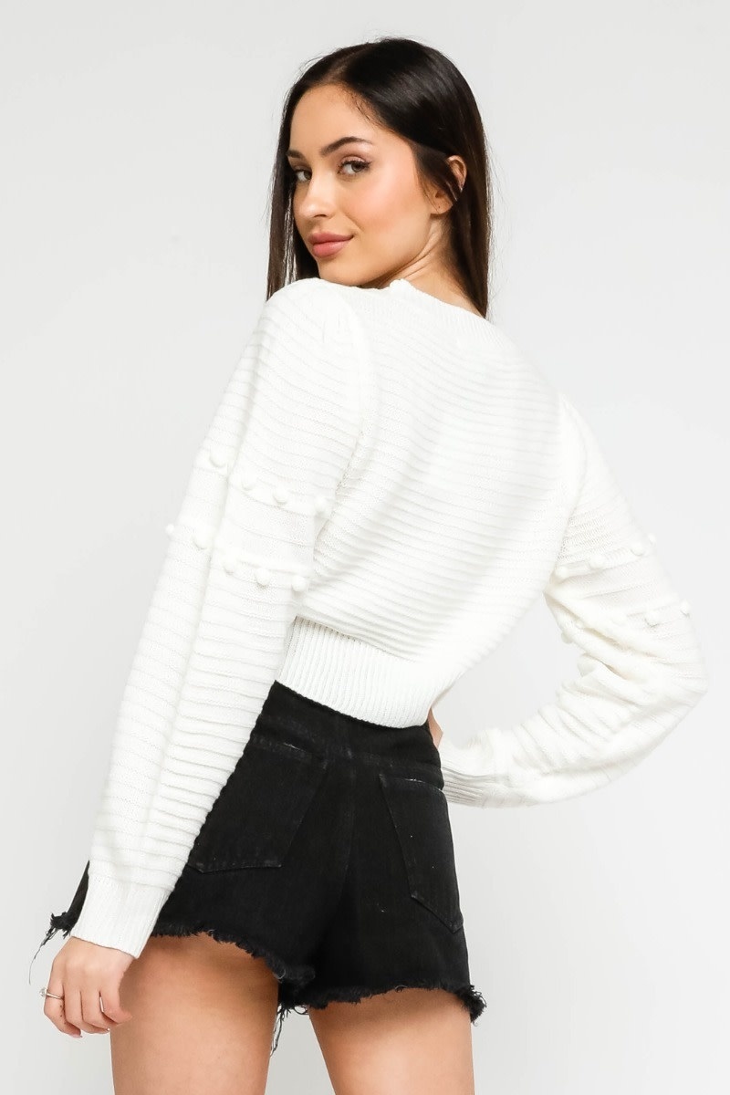 Atikshop PomPom Cropped Sweater