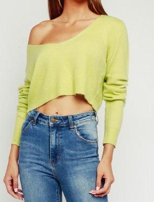 Atikshop Fuzzy Off Shoulder Sweater