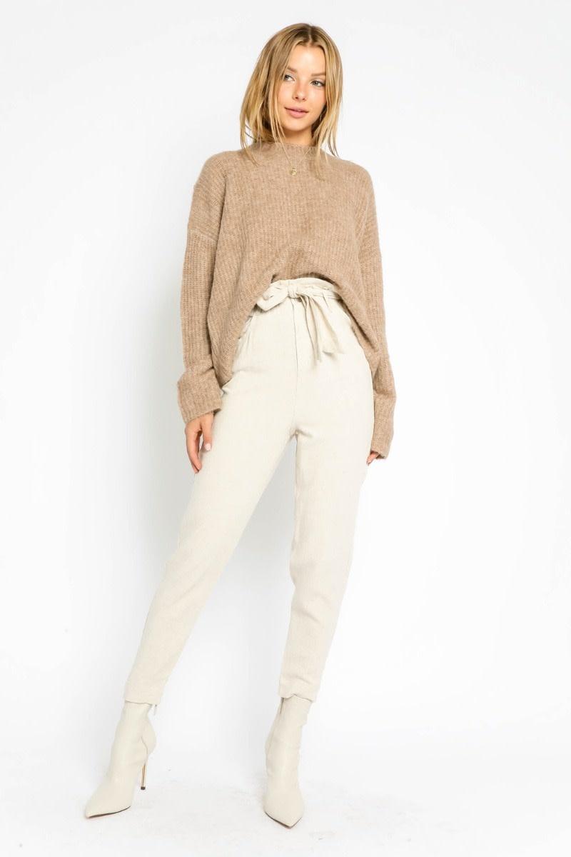Atikshop Belted Linen Paperbag Pants