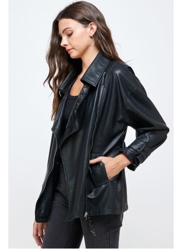 Seek The Label Oversized Faux Leather Jacket