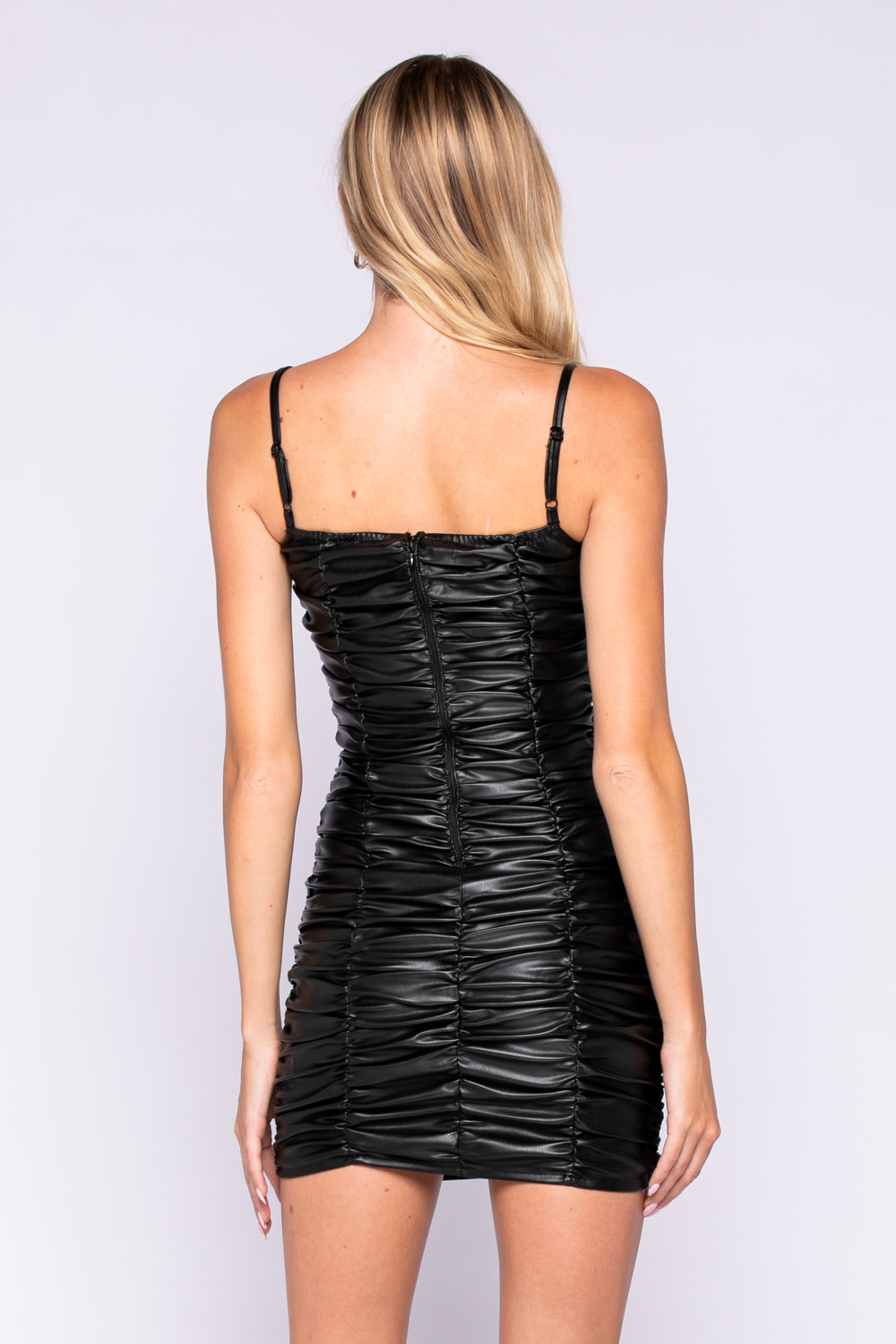 Seek The Label Faux Leather Ruched Mini Dress