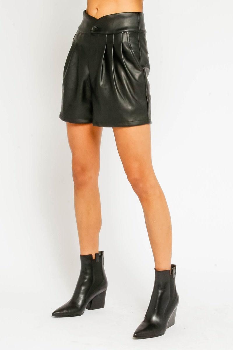 Atikshop Pleated Faux Leather Shorts