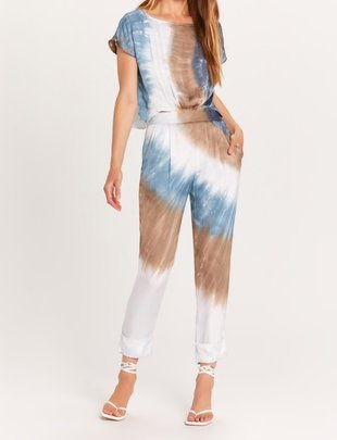 Seek The Label Back Button Up Tie Dye Jumpsuit