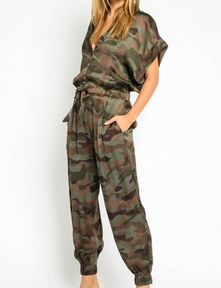 Seek The Label Satin Camo Jumpsuit