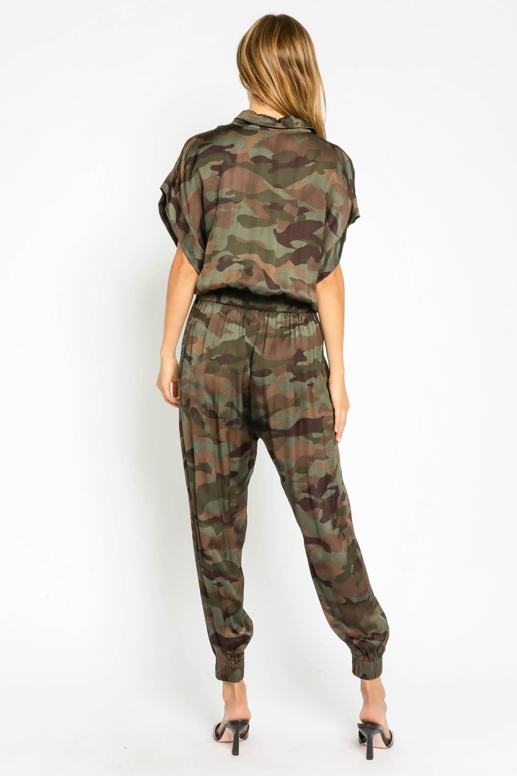 Seek The Label Satin Camo Jumpsuit