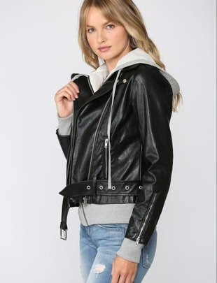 Atikshop Faux Leather Jacket W/Knit Hoodie