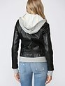 Atikshop Faux Leather Jacket W/Knit Hoodie