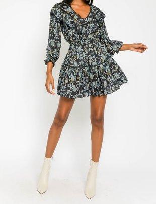 Atikshop Botanical Ruffled Mini Dress