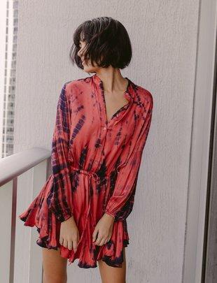 Atikshop Satin Tie Dye L/S Mini Dress