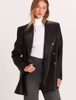 Atikshop Vegan Leather Oversized Blazer