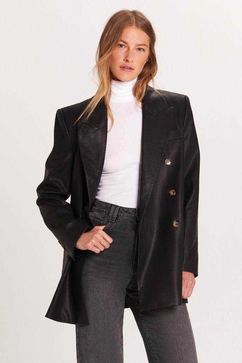 Atikshop Vegan Leather Oversized Blazer