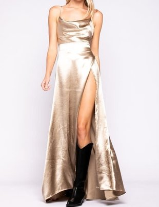 Seek The Label Satin Spaghetti Strap Maxi
