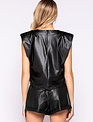 Seek The Label Faux Leather Shoulder Pad Tee