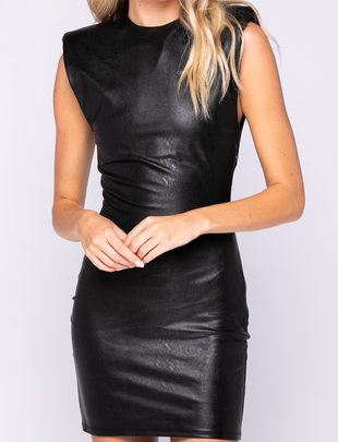 Seek The Label Vegan Leather Shoulder Pad Mini Dress