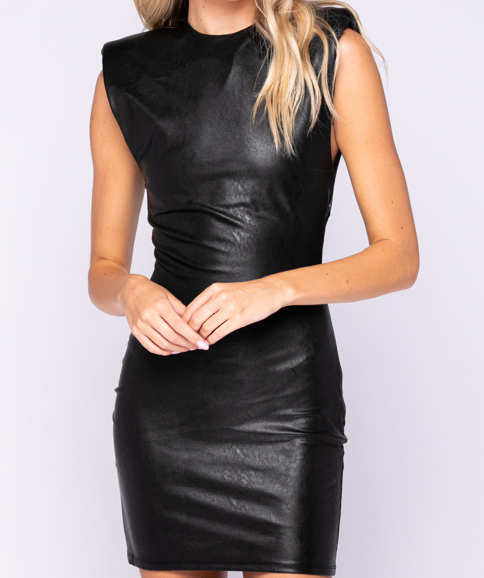 Seek The Label Vegan Leather Shoulder Pad Mini Dress