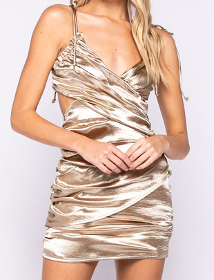 Seek The Label Satin Cut Out MIni Dress