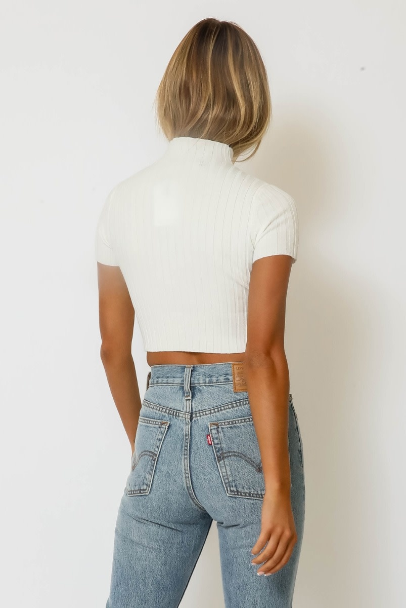 Atikshop Ribbed Cropped Sweater Top