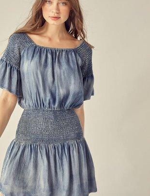 Atikshop Denim Smocking Mini Dress