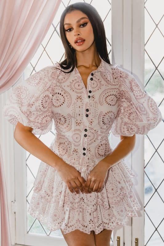 Seek The Label Annie Eyelet Mini Dress