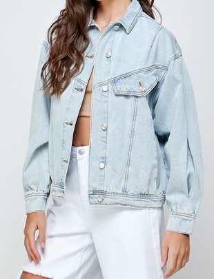 Atikshop Oversized Pleat Denim Jacket