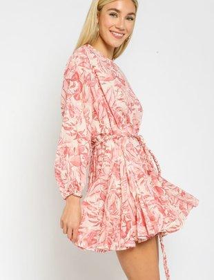 Atikshop Tropical Braided Belt Mini Dress