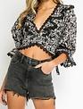 Atikshop Floral Crochet Lace Up Top