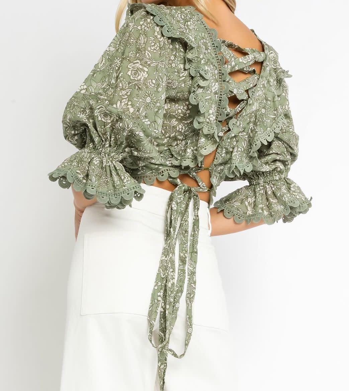 Atikshop Floral Ruffle Lace Up Top