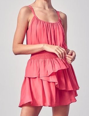 Atikshop Cross Back Ruffle MIni Dress