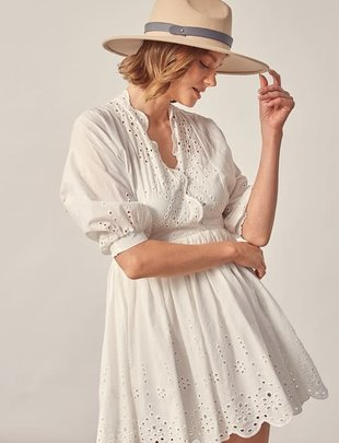 Atikshop Eyelet Detail V-Neck Dress
