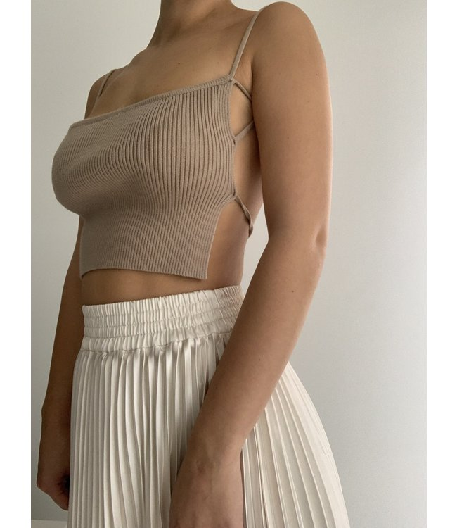 Seek The Label Knit Ribbed Open Back Top