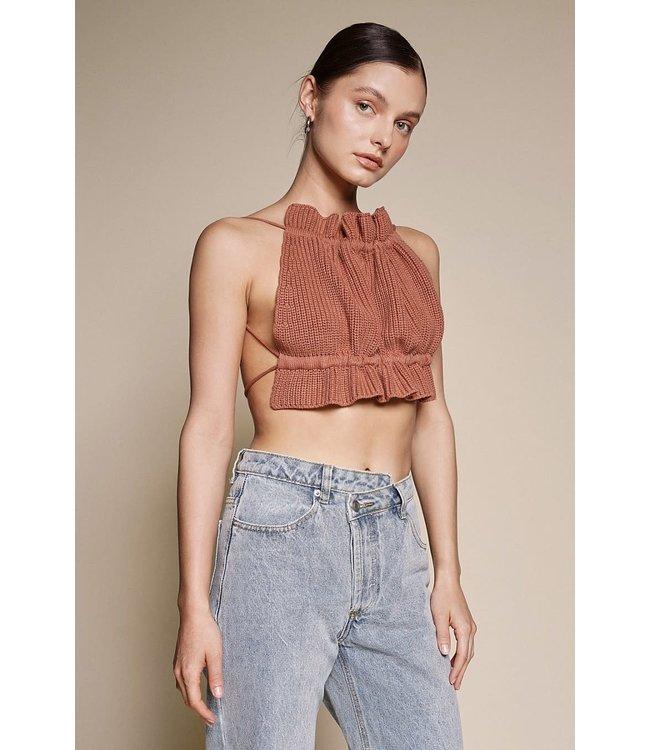 Seek The Label Knit Backless Halter Top
