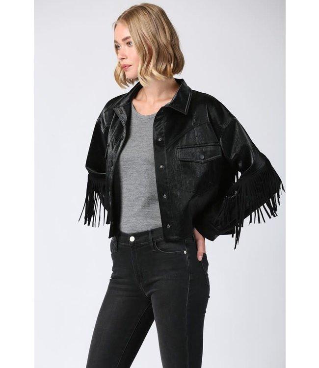 Seek The Label Metallic Faux Leather Fringe Jacket