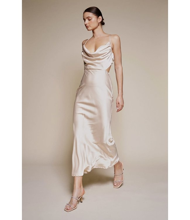 Seek The Label Satin Cowl Neck Midi Dress