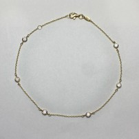 Quality Gold Leslie's 14K Cubic Zirconia Polished w/ 1 in. ext. Anklet