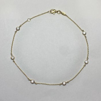 Quality Gold 14K Cubic Zirconia Anklet