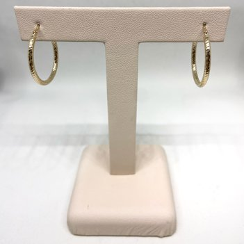 Quality Gold 10K Textured Hoop Earrings