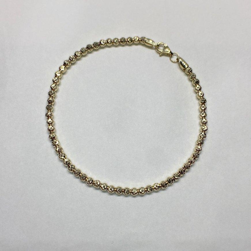 Quality Gold Leslie's Polished Fancy Link D/C Beaded Bracelet