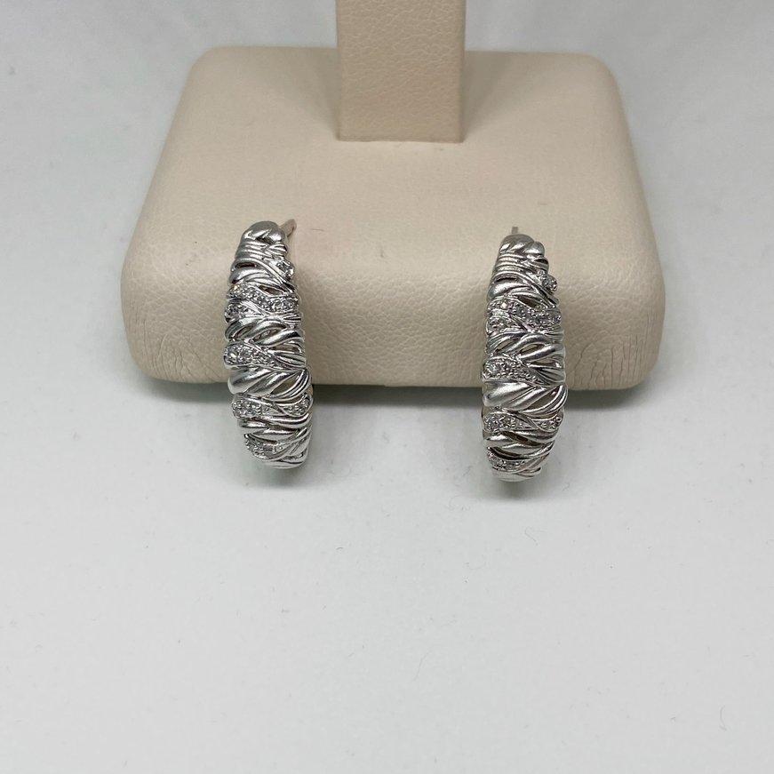 Transelco Sterling Silver Brush Finish Diamond Hoop Earring