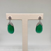 Premium 14KT Green Agate and Diamond Pave Earrings