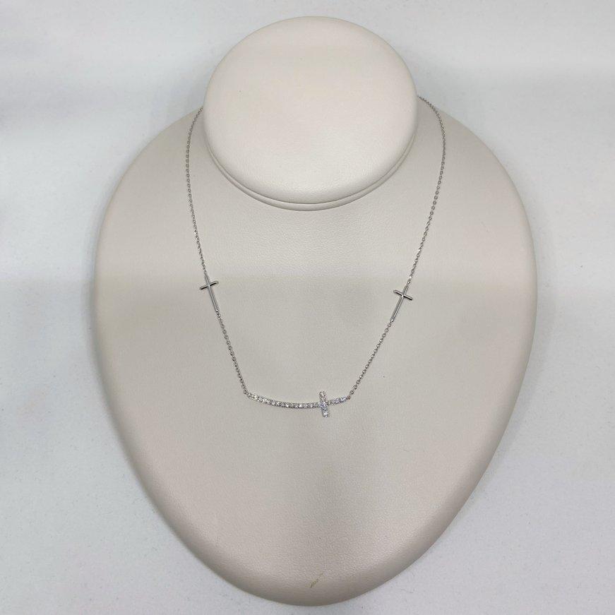 Premium 14K Sideways Diamond Cross Necklace