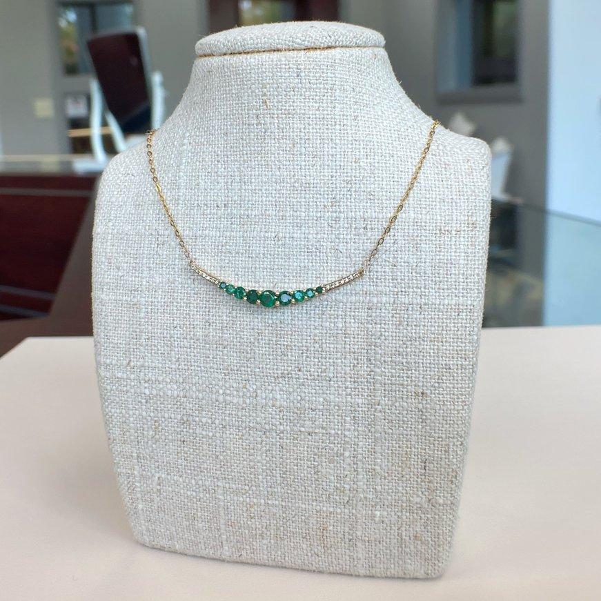 Transelco 10K Graduated Emerald & Diamond Bar Necklace
