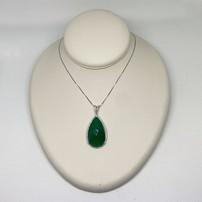 Premium 14K Emerald Green Chalcedony & Diamond Necklace