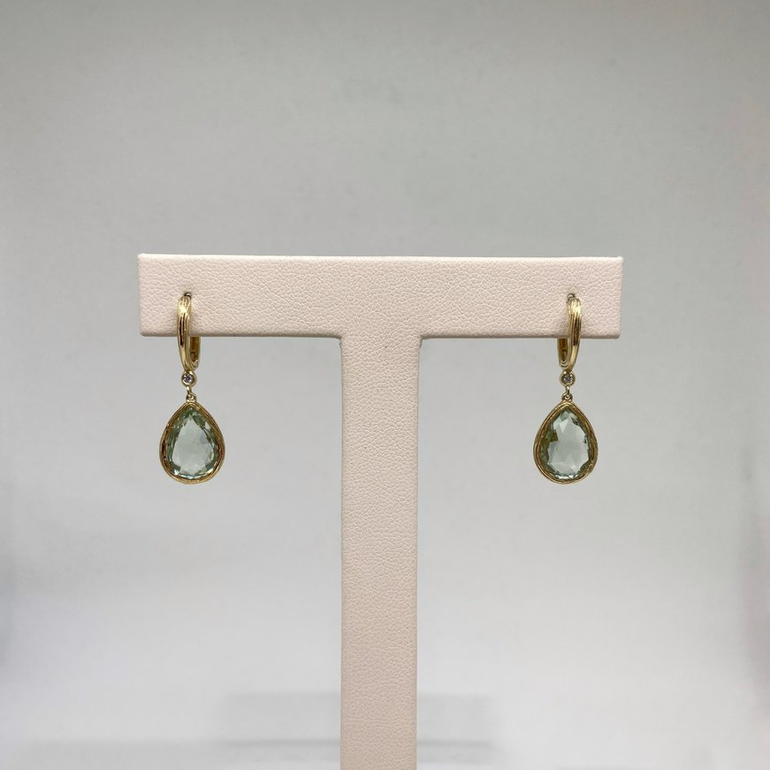 Asher Jewelry Green Amethyst & Diamond Pear-Shaped Earrings