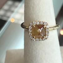 Kattan 14K Rough Diamond Ring with Halo