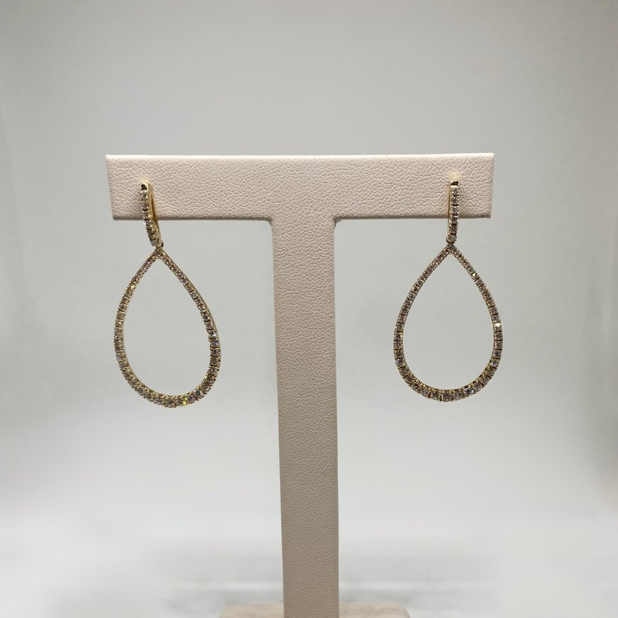 Premium 14K Diamond Teardrop Dangle Earrings