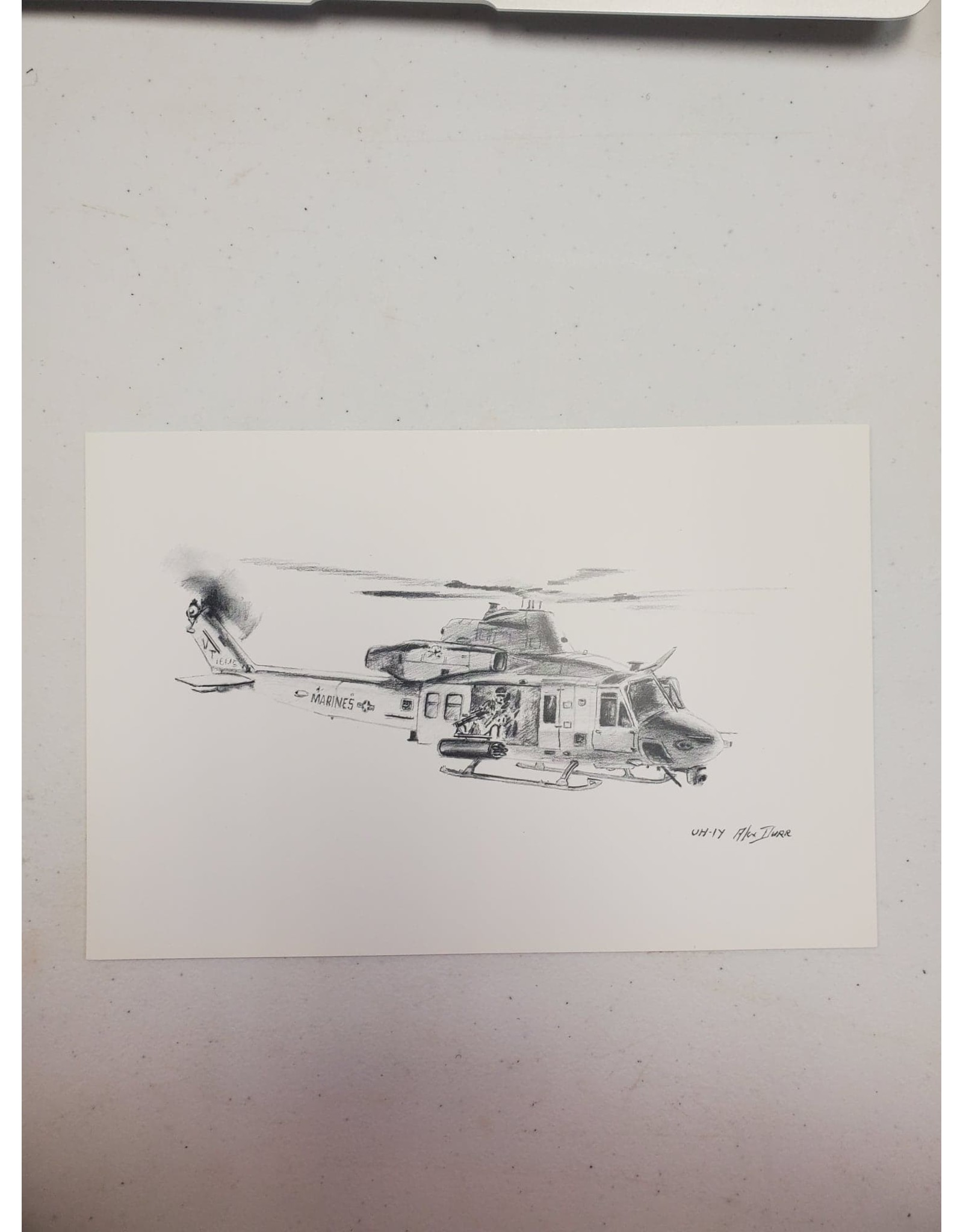 UH-1Y 9x6 Pen and Ink Print